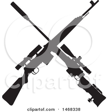 Clipart of a Silhouetted Crossed Rifle Design - Royalty Free Vector Illustration by BestVector