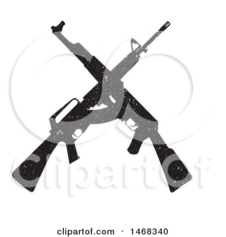Clipart of a Distressed Crossed Rifle Design - Royalty Free Vector Illustration by BestVector