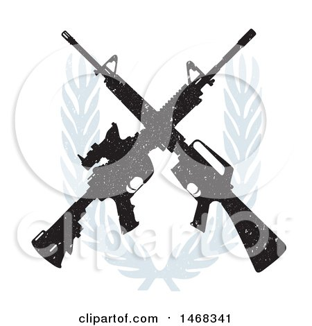 Clipart of a Distressed Crossed Rifle Design with a Wreath - Royalty Free Vector Illustration by BestVector