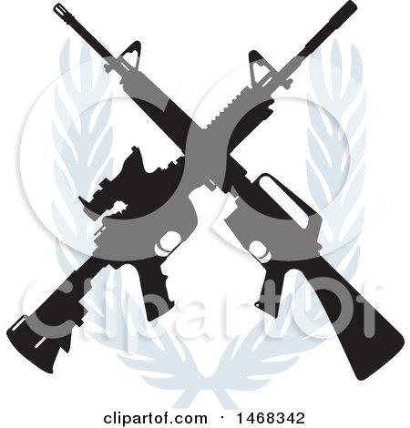 Clipart of a Crossed Rifle Design with a Wreath - Royalty Free Vector Illustration by BestVector