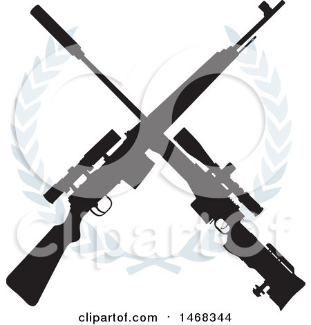 Clipart of a Crossed Rifle Design and Wreath - Royalty Free Vector Illustration by BestVector