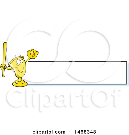 Clipart of a Golden Trophy Mascot Playing Baseball by a Blank Banner - Royalty Free Vector Illustration by Johnny Sajem