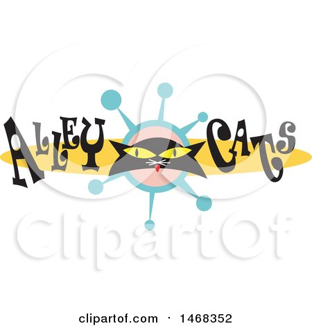 Clipart of a Black Kitty Face in a Retro Design with Alley Cats Text - Royalty Free Vector Illustration by Andy Nortnik