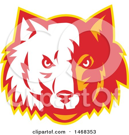 Clipart of a Half White, Half Red and Orange Wolf Face - Royalty Free Vector Illustration by patrimonio