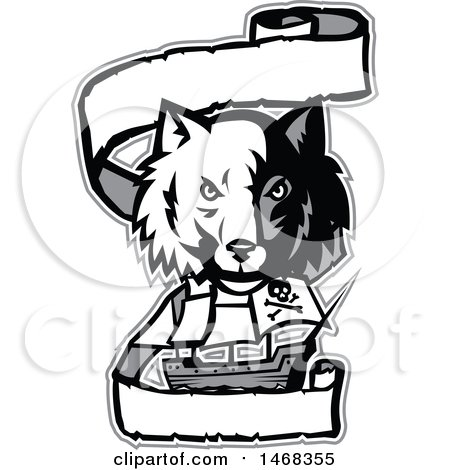 Clipart of a Half Gray Half White Wolf Head over a Pirate Ship and Banner - Royalty Free Vector Illustration by patrimonio