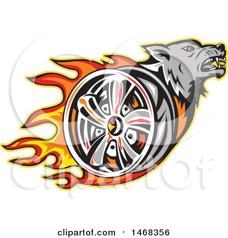 Clipart of a Tough Wolf Head and Flaming Tire Wheel Rim - Royalty Free Vector Illustration by patrimonio