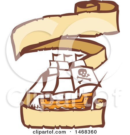 Clipart of a Retro Pirate Ship in a Long Ribbon Banner - Royalty Free Vector Illustration by patrimonio
