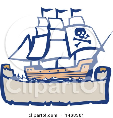 Clipart of a Retro Galleon Pirate Ship over a Banner - Royalty Free Vector Illustration by patrimonio