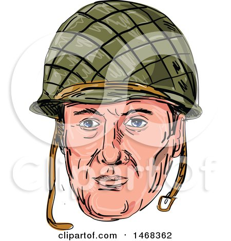 Clipart of a Sketched World War Two American Soldier Face with a Helmet - Royalty Free Vector Illustration by patrimonio