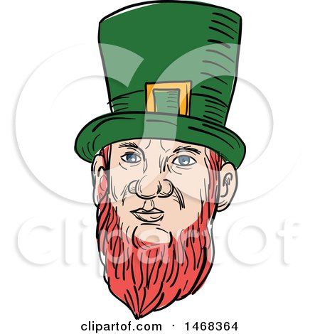Clipart of a Sketched Leprechaun Face - Royalty Free Vector Illustration by patrimonio