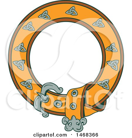 Clipart of a Celtic Belt Forming a Round Frame - Royalty Free Vector Illustration by patrimonio