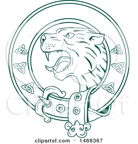 Clipart of a Scottish Wildcat or Highlands Tiger Head in a Celtic Belt - Royalty Free Vector Illustration by patrimonio