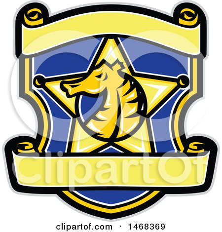 Clipart of a Seahorse Head in Profile Within a Sheriff Star Badge over a Shield - Royalty Free Vector Illustration by patrimonio