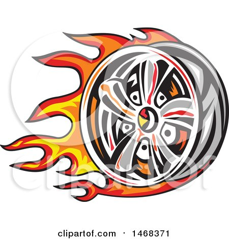 Clipart of a Fiery Car Wheel Rim - Royalty Free Vector Illustration by patrimonio