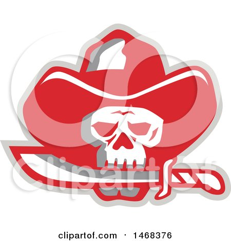 Clipart of a Cowboy Pirate Skull Biting a Knife - Royalty Free Vector Illustration by patrimonio