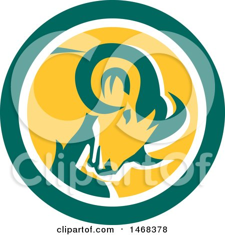 Clipart of a Retro Bighorn Mountain Sheep Ram Head in a Green White and Yellow Circle - Royalty Free Vector Illustration by patrimonio