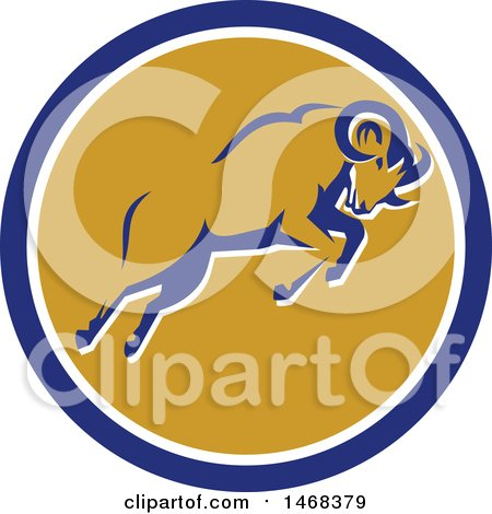 Clipart of a Retro Bighorn Mountain Sheep Leaping in a Blue White and Orange Circle - Royalty Free Vector Illustration by patrimonio