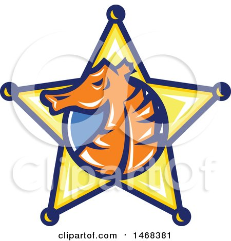 Clipart of a Seahorse Head in Profile Within a Sheriff Star Badge - Royalty Free Vector Illustration by patrimonio