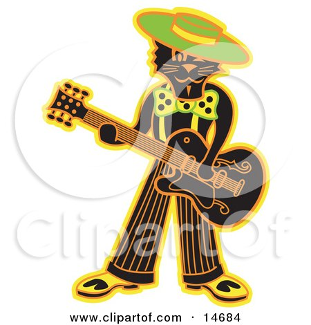 Cool Black Cat Playing a Guitar Clipart Illustration Posters, Art Prints