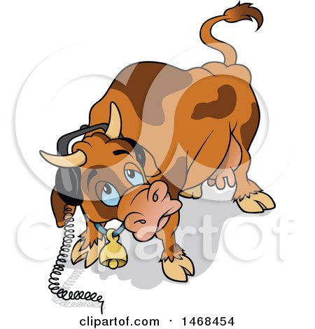 Clipart of a Cow Wearing Headphones - Royalty Free Vector Illustration by dero