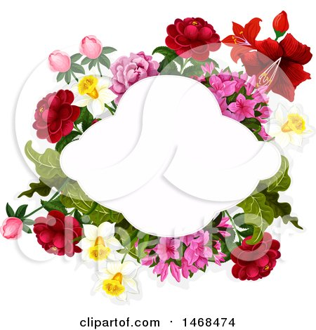Clipart of a Floral Wedding Frame - Royalty Free Vector Illustration by Vector Tradition SM