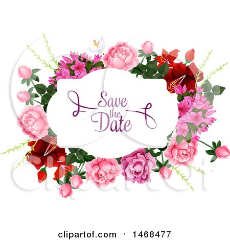Clipart of a Floral Wedding Save the Date Design - Royalty Free Vector Illustration by Vector Tradition SM