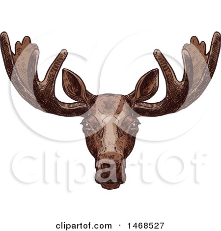 Clipart of a Sketched Elk - Royalty Free Vector Illustration by Vector Tradition SM
