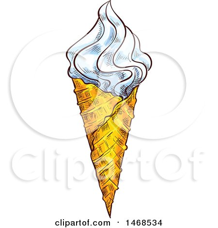 Clipart of a Sketched Waffle Ice Cream Cone - Royalty Free Vector Illustration by Vector Tradition SM