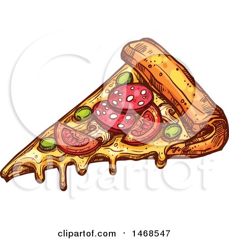Clipart of a Sketched Slice of Pizza - Royalty Free Vector Illustration by Vector Tradition SM