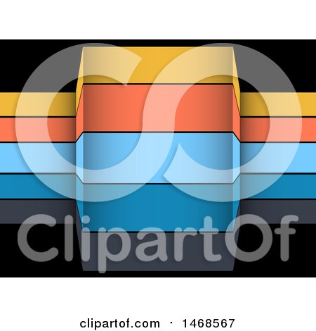Clipart of Colorful Infographic Banner Stripes over Black - Royalty Free Vector Illustration by elaineitalia