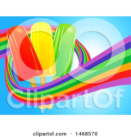 Clipart of a Rainbow Wave Around Ice Lollies over Blue - Royalty Free Vector Illustration by elaineitalia