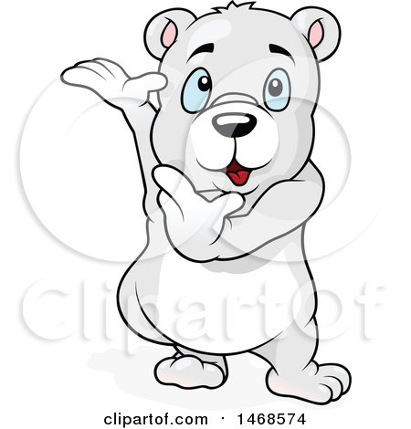 Clipart of a Cute Polar Bear Presenting - Royalty Free Vector Illustration by dero