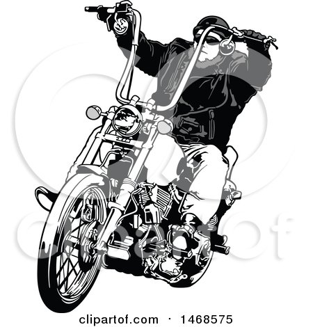 Clipart of a Grayscale Biker on a Chopper - Royalty Free Vector Illustration by dero