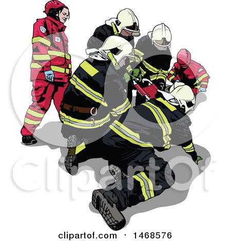 Clipart of a Paramedics Team Tending to a Patient - Royalty Free Vector Illustration by dero