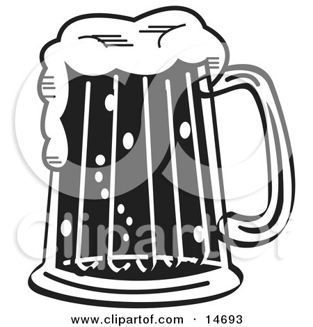 Black and White Frothy Mug of Beer in a Bar Clipart Illustration by Andy Nortnik