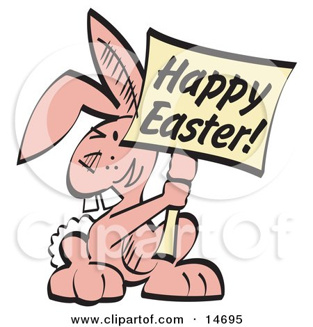 Pink Easter Bunny With Buck Teeth Holding a Happy Easter Sign Clipart Illustration Posters, Art Prints