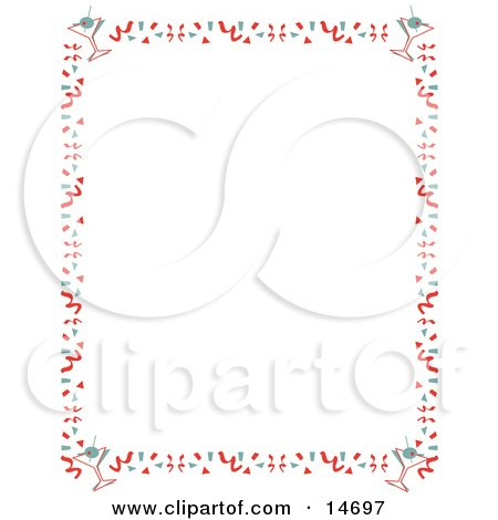 Stationery Background Of With A Border Of Confetti And Martinis Retro Clipart Illustration by Andy Nortnik
