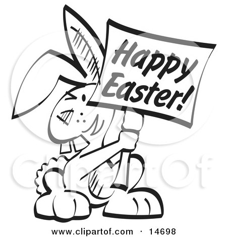 Buck Toothed Bunny Rabbit Holding a Happy Easter Sign Clipart Illustration by Andy Nortnik