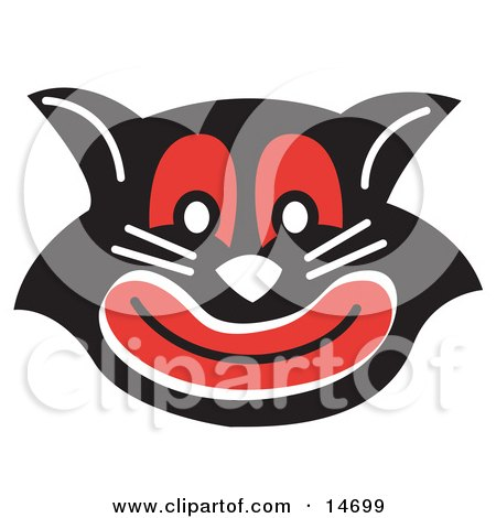 clipart picture of an evil black cat with red eyes and mouth grinning.