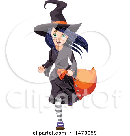 Clipart of a Girl Trick or Treater Running in a Witch Halloween Costume - Royalty Free Vector Illustration by Pushkin