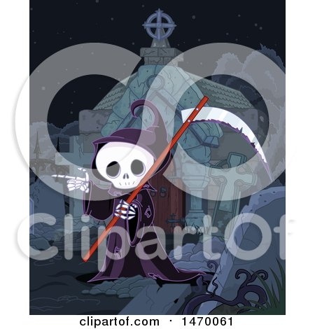 Clipart of a Grim Reaper Skeleton Pointing in a Cemetery - Royalty Free Vector Illustration by Pushkin