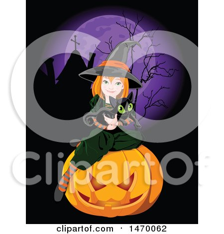 Clipart of a Cute Witch Girl Holding a Black Cat and Sitting on a Halloween Pumpkin in a Cemtery Under a Full Purple Moon - Royalty Free Vector Illustration by Pushkin