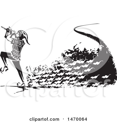 Clipart of a the Pied Piper Marching with a Trail of Rats and Playing a Pipe in Black and White Woodcut - Royalty Free Vector Illustration by xunantunich