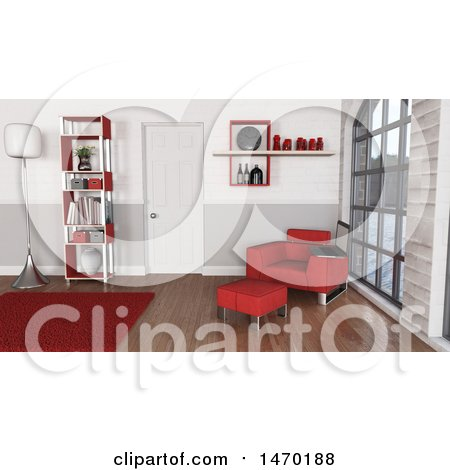 Clipart of a 3d Red Themed Room Interior - Royalty Free Illustration by KJ Pargeter