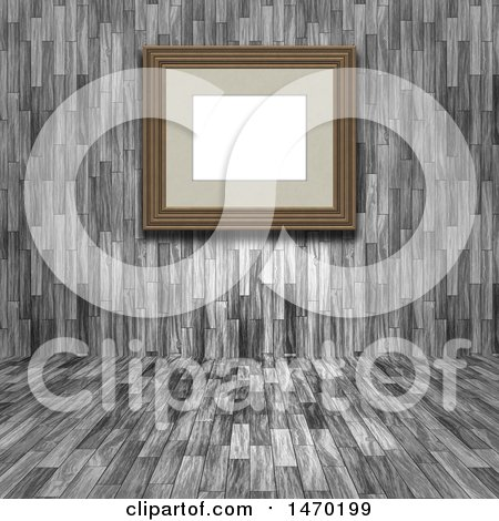 Clipart of a 3d Blank Picture Frame in a Wood Room - Royalty Free Illustration by KJ Pargeter