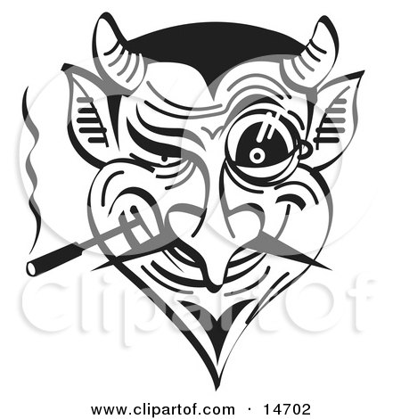 Evil and Greedy Devil Smoking and Grinning, Black and White Clipart Illustration by Andy Nortnik