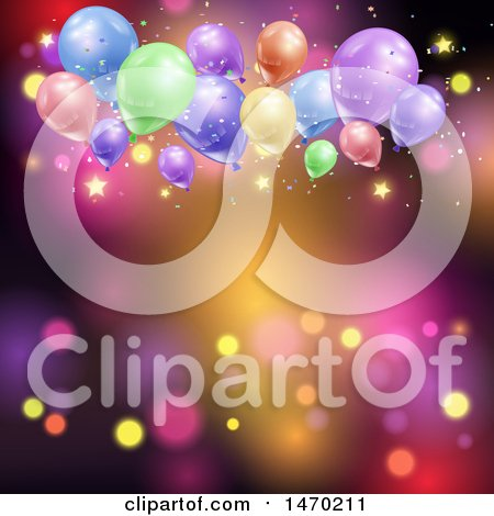 Clipart of a Colorful Light and Party Balloon Background with Stars - Royalty Free Vector Illustration by KJ Pargeter