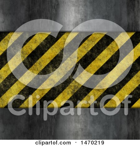 Clipart of a Metal and Hazard Stripes Background - Royalty Free Illustration by KJ Pargeter