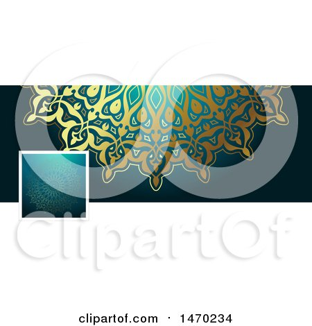 Clipart of a Mandala Social Media Cover Banner Design Element - Royalty Free Vector Illustration by KJ Pargeter