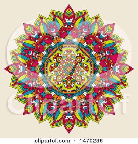 Clipart of a Colorful Mandala on Beige - Royalty Free Vector Illustration by KJ Pargeter